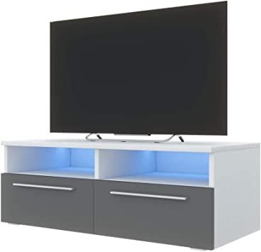 Siena - Mueble TV/Mesa para TV (100 cm, Blanco Mate/Frentes Grises ...