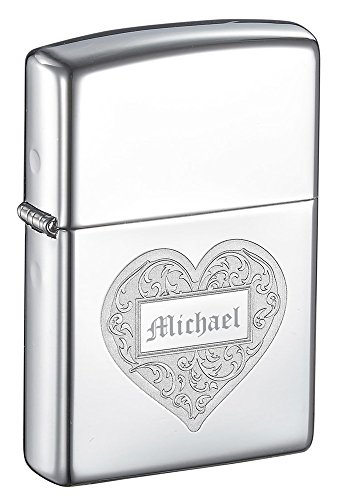 (Personalized Zippo Heart High Polish Chrome Windproof Lighter with Free Engraving)