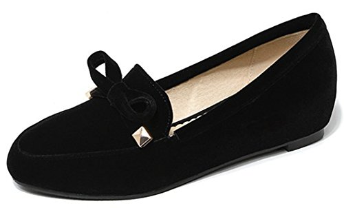 Women's Round Toe Flat Loafers Sweet Casual Shoes with Bow Black - 7