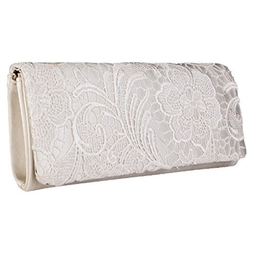 Womens Ivory Satin Ladies Floral Lace Small Bridal Party Evening Clutch Bag Handbag