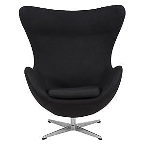 leisuremod arne jacobsen style egg chair in black wool arne jacobsen style egg
