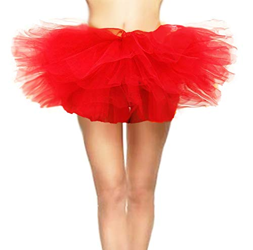 CahcyElilk Women's Spirit Halloween Red Tutu Adult Layered Clubwear Skirt Dance Party Ballerina M&M Red Costume 50s Run Checkered Elastic Tiered Glitter Flare Tutu Red Small -