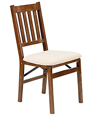 Meco Grills Arts and Craft 2-Piece Solid Hardwood French-Style Upholstered Steel Folding Chair