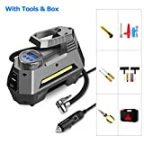 Portable Air Compressor Tire Inflator ( with Tire Repair Kit & Tool Box ) - Car Tire Pump with Digital Pressure Gauge - 150 PSI 12V DC - Bright Emergency Flashlight, for Auto, Trucks, Bicycles, Balls