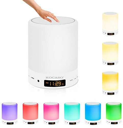Kocaso [Smart Touch Sensor] [Wireless] LED Stereo Speaker Color Changing, Dimmable, Alarm/Clock, 3 Level Brightness, Hands Free Call/AUX/TF Card- iPhone/Android/Home Table Night Light Lamp Speaker (Kocaso Wireless Speaker)