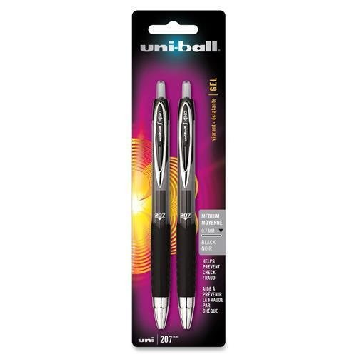 (33957PP Uni-Ball Signo 207 Gel Pen - 0.7 mm Pen Point Size - Black Ink - 2 / Pack)