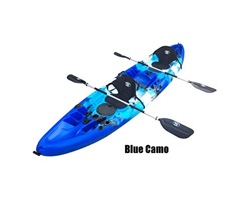 BKC UH-TK219 12 foot Tandem Sit On Top Kayak 2 or 3 person with 2 Paddles and Seats and 5 Fishing Rod Holders Included (Sky Blue) 2 Person Travel Kayak
