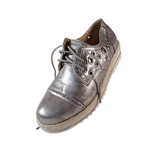... Schuhtraum Damen Schnürschuhe Schnürer Sneakers Plateau Nieten Metallic  Halbschuhe S807 Silber ... b01662e5be