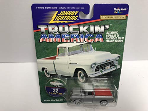 1955 Chevy Cameo Silver Paint JOHNNY LIGHTNING 1997 Truckin' America Limited Edition die-cast with Collectible Disc