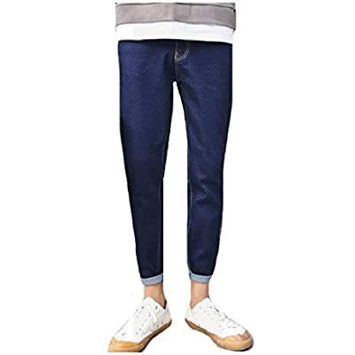Hot Nicelly Men Washed Denim Pants Rolled Cuff Tapered Leg All-Match Jeans
