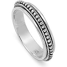 Sterling Silver Women's Spinner Bead Bali Ring (Sizes 6-14)