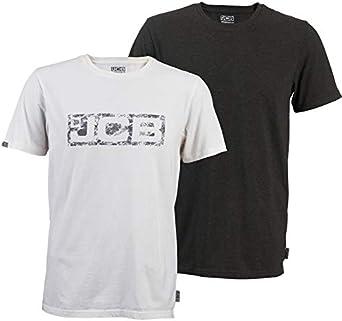 JCB Workwear - Camiseta de Manga Corta, 60% algodón, 40% poliéster, 100% algodón, Talla XL, Color Blanco y Gris: Amazon.es: Ropa y accesorios