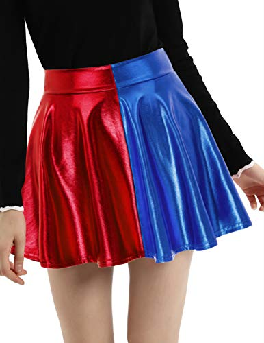 Women Metallic Faux Leather Full Circle Skater Skirt Black, Red and Blue, X-Large