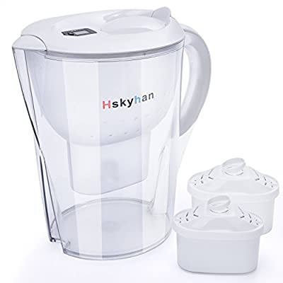 Pitcher Water Filter Alkaline Filtration, 3.5L Large Size, Improve PH, BPA Free, Memory Lid, Timer. Fast Flow With 2 Filters By Hskyhan
