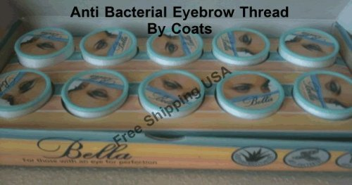 10 Spools of Bella Anti Bacterial Eyebrow Thread By Coats Free Shipping USA