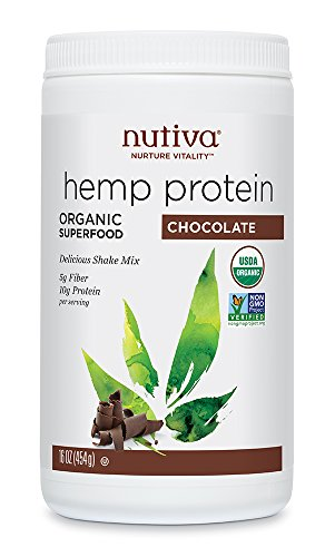 Nutiva Organic, Cold-Processed Hemp Protein from non-GMO, Sustainably Farmed Canadian Hempseed, Chocolate, 16-ounce