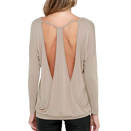 collo Sciolto O Backless Tops shirt Bazhahei Casual Cachi ladies T Donna Camicie Top Camicetta XxIfzn4qa