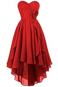 MsJune High Low Bridesmaid Dress Chiffon Ruffles Party Prom Homecoming Dresses
