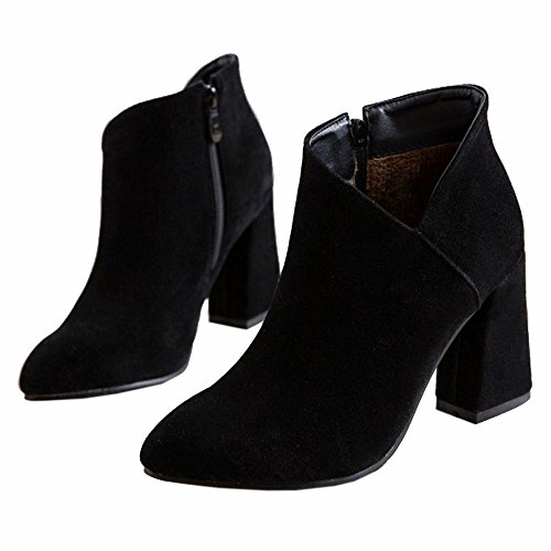 Coolcept Femmes Mode Botines Fermeture Eclair Black 65Yr4HMy