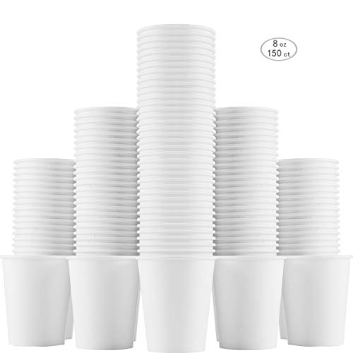 - to go paper coffee cups 8oz Disposable White Hot Cold Beverage Recyclable Cup of 150 Count for Drinking