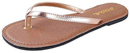 Soda Shoes Women Flip Flops Basic Plain Sandals Strap Casual Beach Thongs FELER Rose Gold Penny Bronze 10 (Women Rose Flops Flip)
