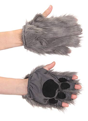 elope Gray Fingerless Costume Wolf Paws for Adults or Kids]()