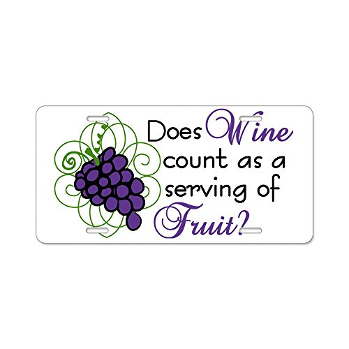 CafePress - Does Wine Count Aluminum License Plate - Aluminum License Plate, Front License Plate, Vanity Tag