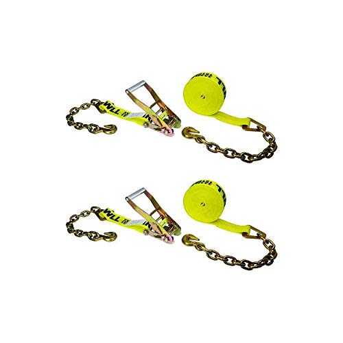 "2"" x 27' Long Handle Ratchet Strap w/Chain Extensions (Yellow) - 2 Pack from US Cargo Control"