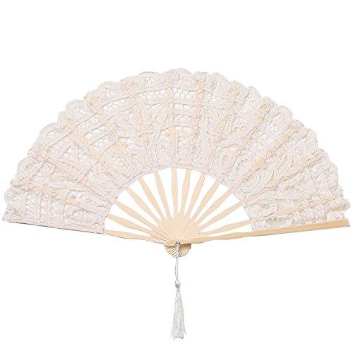 Dynal-Living Women's Cotton Lace Folding Fan, Chinease/Japanese Folding Hand Fan,Women Hand Folding Fans Hand Fan Gift Fan Craft Fan Folding Fan Dance Fan (Beige)