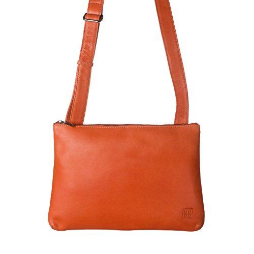 DUDU Borsa a Tracolla regolabile Slim da Uomo Donna in morbida Pelle Design Piatto con chiusura a Cerniera lampo Arancio