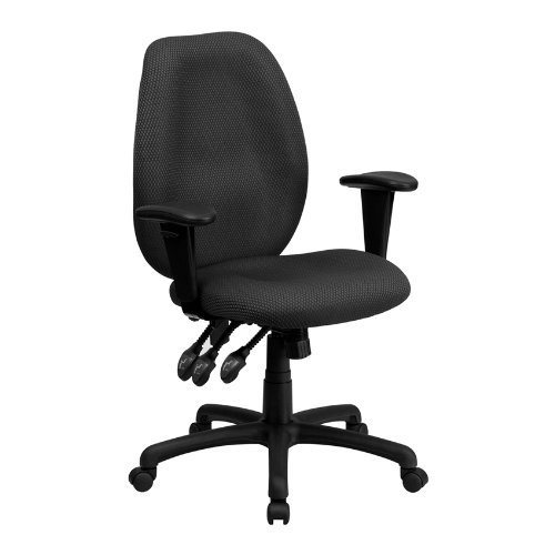 Offex High Back Gray Fabric Multi Functional Ergonomic Task Chair with Arms