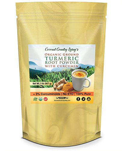 Premium Organic Ground Turmeric Root Powder Spice w Curcumin, 2 lb, for Brain, Body, Beauty, Health