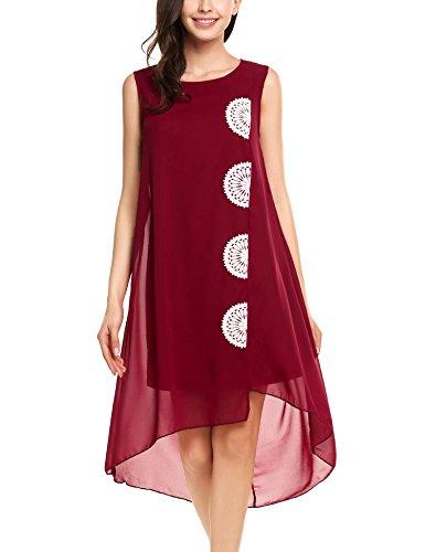 Zeagoo Women Flowy Loose Summer Chiffon Sleeveless Flower Embroidered Tunic Dress (Embroidered Chiffon)