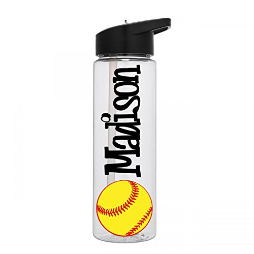 Personalized Sport water bottle Softball design with name BPA Free 24 oz, clear or colored bottle