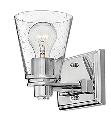 Hinkley 5550CM-CL Contemporary Modern One Light Bath Wall Sconce from Avon collection in Chrome, Pol. Nckl.finish, ()