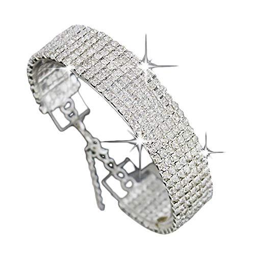 (Leedford Fine Thick Bracelet Jewelry Sterling Silver Cubic Zirconia Diamond Tennis Bracelet Crystal Adjustable Bangle Bracelets)