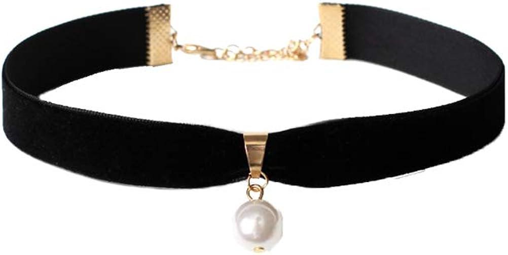 FENICAL Gargantilla de Terciopelo Collar Gargantilla de Perlas Individual gótica Gargantilla con Colgante de Perlas para Mujeres niñas (Negro)
