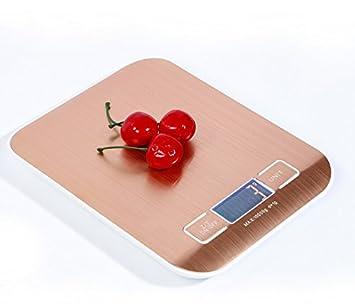 Tekanxc Super Slim Báscula de cocina de acero inoxidable oro báscula electrónica digital LCD de 10kg de peso la dieta alimentaria cocinando Herramienta ...