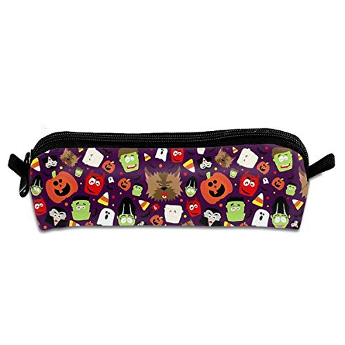 Amonee Happy Pumpkin Halloween Students Pencil Case,Pen Pouch Stationery Organizer,Multifunction Cosmetic Makeup Bag Zipper Purse