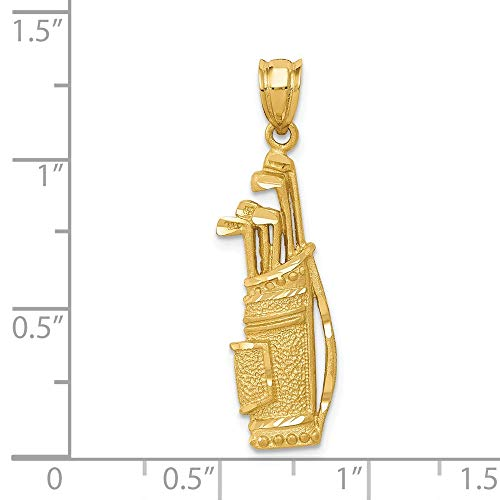 14k Yellow Gold Golf Bag Charm Pendant