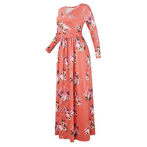 Vestido de mujer elegante vestido vintage - hiboote Vestido largo con cuello en V de mujer Vestidos largos de playa con estampado floral Vestido casual de ...