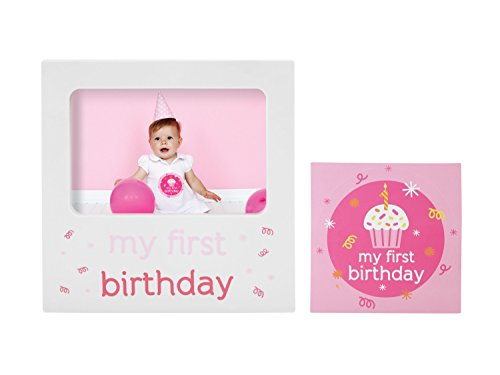 Tiny Ideas Baby's First Birthday Milestone Baby Belly Sticker and Keepsake Photo Frame Gift Set, Pink  -