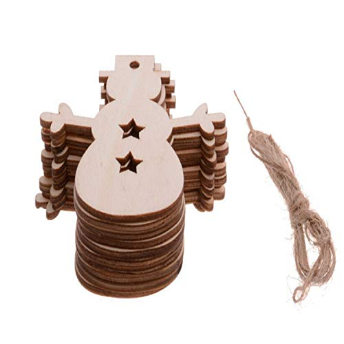 Christmas Ornaments 10PCS/ Lot Snowflake Star Santa Claus Boots Bells Christmas Tree Hanging Wooden Ornaments Party Christmas Decorations for Home (Snow Baby)