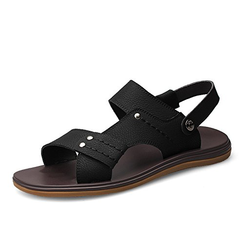 Sommer neue Strand Schuhe Sandalen Sandalen Faser Freizeit Wearable Trend große Größe Männer Schuhe, schwarz, UK = 8,5, EU = 42 2/3