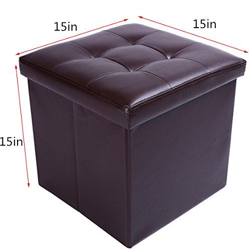 15'' Storage Ottoman Folding Stool,Collapsible Cube Faux Leather Coffee Table,Foot Rest Seat,Clutter Toys Collection Brown by epeanhome (Image #1)'