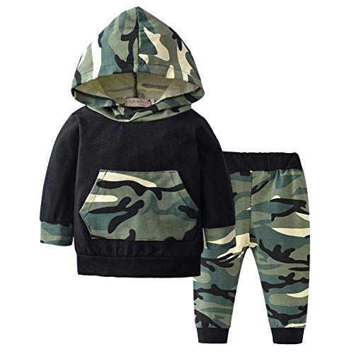 BiBiWorld 2 Piece Baby Boys Long Sleeve Hoodie Tops T-Shirt Camouflage Trouser Infant Clothes Outfits 0-6 Months ()