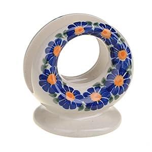 Classic Boleslawiec, Handmade Polish Pottery, Hand Painted Stoneware, Ceramic Napkin/Serviette Holder 507 (U-018)