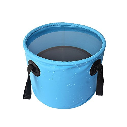 Collapsible Bucket, Foldable Water Container Portable Folding Wash Pail for Beach, Travel, Camping, Fishing, Gardening, Car Washing ()