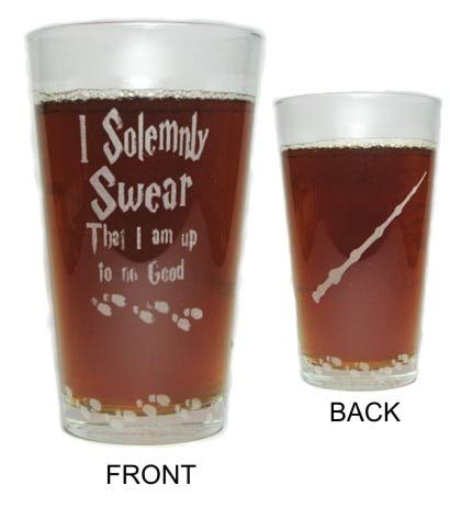 I Solemnly Swear That I Am Up To No Good with Elder Wand and Mischief Managed - Engraved Beer Pint Glass - 16 oz - Permanently Etched - Fun & Unique Gift! ()
