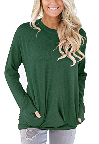 XUERRY Women Casual Batwing Long Sleeve Solid Crewneck Sweatshirt With Pockets Loose T Shirt Tunics Blouses Tops(L,Green) from XUERRY